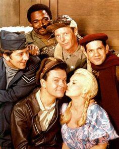 Hogan's Heroes~Newkirk, Kinch, Carter, LeBeau, Hogan, and Hilda.