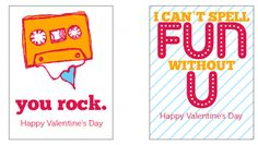 Free printable Valentine's Day cards designed by Caroline Smalley