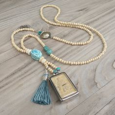 Long Mala Tassel Necklace, Buddha Shrine Pendant, Off White and Turquoise, Wood Beads