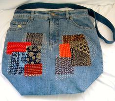 Boro Patches Sashiko Stitching on Large Original by SarahYsCottage