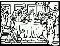 The Last Supper Maundy Thursday And Instituting Of Holy Communion With Judas Leaving Room Bible Coloring Page