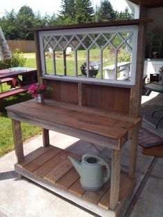 Great potting bench with gorgeous window!