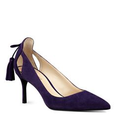 Our Modesty classic suede pointy toe pumps feature slender cutouts at the heel…