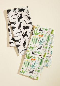 Critters Meet Cultivation Tea Towel Set. What do you get when kittens, bunnies, lizards, and birds start prancing through your perfectly curated garden? #green #modcloth