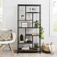 Our Wood and Metal Abstract Tier Shelf is the definition of modern farmhouse flair. Its unique design makes this a striking accent piece for any room! Bookshelves In Living Room, Living Room Storage, Living Room Furniture, Living Room Decor, Bedroom Decor, Shelf Ideas For Living Room, Smart Furniture, Metal Furniture, Furniture Decor