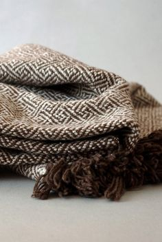 Woven Merino Blanket in White and Chocolate Brown by RiverFarmRI