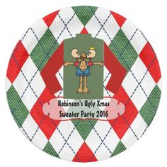 Christmas Ugly Sweater Party Personalized Paper Plate