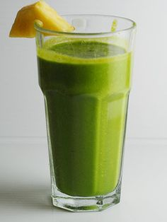 Ginger Pineapple Cilantro shake (sounds like an odd combo, but super yummy). It is a great anti-inflammatory drink and helps with digestion via Elana Amsterdam