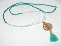 SARASWATI Perlenkette boho ethno türkis gold ornament orient weiß rocailles perlen glasschliffperlen necklace