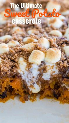 Loaded Sweet Potato Casserole Loaded Sweet Potato Casserole,Best Food Recipes Sweet Potato Casserole is such a classic and traditional dish. Elevated and made even better with a cinnamon filling and buttery cinnamon pecan topping. Best Thanksgiving Recipes, Thanksgiving Cakes, Holiday Recipes, Sweet Potatoes Thanksgiving, Easy Thanksgiving Side Dishes, Southern Thanksgiving Recipes, Holiday Side Dishes, Best Sweet Potato Casserole, Loaded Sweet Potato