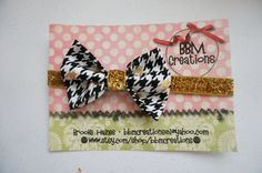 gold black houndstooth headband bow headband by BBMCreations