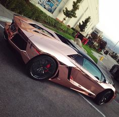 Rose gold Lamborghini Aventador.