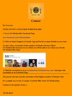 Contest #Contest  Now Invite your 50+ Friends on our Facebook Page and win Vouchers worth Rs.500/-   For Rules and Conditions, please see the image below.   To Invite Friends Click on the link below   http://on.fb.me/Q91iFQ or click on Invite to Friends Facebook app.