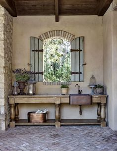 Timeless Elegance in a Storied Arizona Home Traditional Home Interior Design Country French Exterior Planting Bench Copper Farmhouse Sink Traditional French Country H. Country Farmhouse Decor, Home Interior Design, Rustic House, French Country House, Country Kitchen Decor, Copper Farmhouse Sinks, Country Kitchen Designs, French Exterior, House Interior
