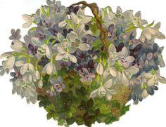 Glanzbilder - Victorian Die Cut - Victorian Scrap - Tube Victorienne - Glansbilleder - Plaatjes : spring flower basket