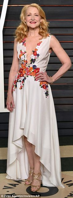 Stylish: Monica Lewinsky wore a fringed strapless gown, while actress Patricia Clarkson wore a plunging dress with colorful floral design