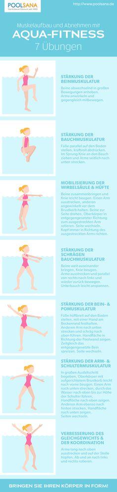 Aqua-Fitness: 7 Übungen, wie Sie spielerisch im Wasser Ihre Muskeln trainieren und Kalorien verbrennen können! #aqua #fitness #wasser #sport #übungen #abnehmen #muskelaufbau