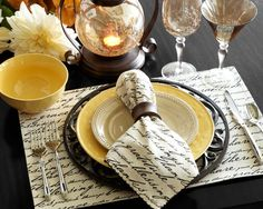 A fresh fall table setting featuring Martillo Dinnerware with Gratitude Script Napkins and Placemats from Pier 1