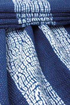Indigo-dyed Shibori quilt