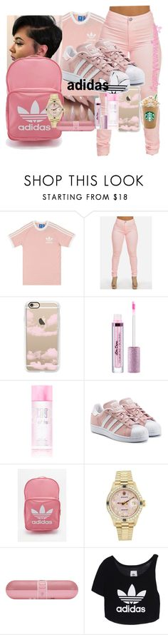 """Adidas;Lavender pink🦑🍥💨"" by gorgeousshawty ❤ liked on Polyvore featuring adidas Originals, Casetify, adidas, Rolex and Beats by Dr. Dre"