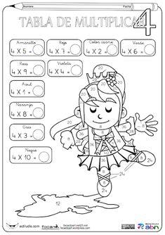 Tablas de multiplicar: fichas para colorear y jugar - Aula de Elena Kids Math Worksheets, Classroom Activities, Multiplication Facts Practice, Math Tables, Math Sheets, Third Grade Math, Math Practices, Math For Kids, Math Lessons