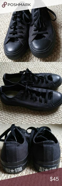 All Black Low Top Converse Worn once and has a tiny smudge in the front of the left shoe. Still in pretty good condition. Converse Shoes Sneakers