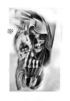 Evil Skull Tattoo, Skull Hand Tattoo, Skull Tattoo Design, Chicano Art Tattoos, Forarm Tattoos, Top Tattoos, Card Tattoo Designs, Tattoo Sleeve Designs, Sleeve Tattoos