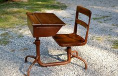 Vintage School Desk with Attached Chair Wood and by PanchosPorch
