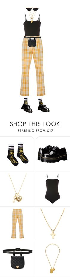 """""""heads in the cloud but my gravity centered"""" by natysdvd ❤ liked on Polyvore featuring Dr. Martens, Carelle, Topshop, Rosie Assoulin and Versace"""