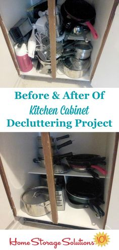 Before and after of decluttered kitchen cabinets, from a participant in the #Declutter365 missions on Home Storage Solutions 101