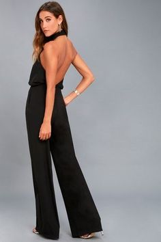 98e9ed8a26f Moment for Life Black Halter Jumpsuit Dressy Rompers And Jumpsuits