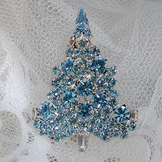 Vintage Inspired Swarovski Crystal Christmas Tree Brooch Pin, Christmas Gift, Xmas Tree, Blue Rhinestone Silver Tree. $19.99, via Etsy.