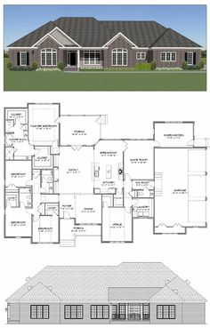 24 Ideas Home Gym Flooring Ideas Square Feet For 2019 House Plans One Story, New House Plans, Dream House Plans, House Floor Plans, Bungalow Floor Plans, Family House Plans, Story House, Dream Houses, 4 Bedroom House Plans
