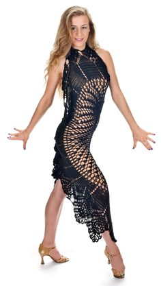 Salma - Sexy Exclusive Black Boho Bohemian Salsa Ballrom Dancing Crochet Hand Made Unique Black Dress Protas Fashion