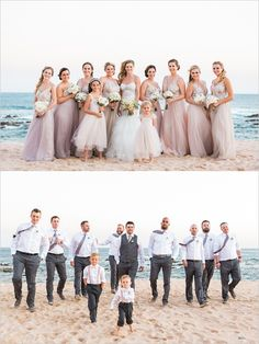 pink and gray beach wedding party