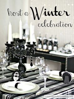 Winter Dinner Party Ideas – Black & White Plaid — Celebrations at Home