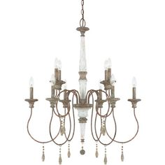 Showcasing a candelabra-inspired design, this eye-catching chandelier showcases a French antique finish and stone accents.   Product...