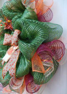 Welcome Fall Green Fox Deco Mesh Wreath by HannaHelminen on Etsy