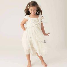 lace flower girl dress girls ivory dress rustic by PoshPeanutKids