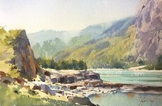 Sergei Kurbatov   Watercolor from plein air in Altai. Katun river close to Elanda.