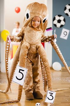 View details for the pattern Children's Octopus Costume on… Diy Shark Costume, Squid Costume, Octopus Costume, Sea Costume, Fish Costume, Boy Halloween Costumes, Boy Costumes, Halloween 2018, Mermaid Costume Makeup