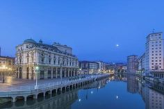 size: Photographic Print: Spain, Bilbao, Arriaga Theater and Nervion River at Dawn by Rob Tilley : Bilbao, Framed Artwork, Find Art, Dawn, Theater, River, Mansions, House Styles, Poster