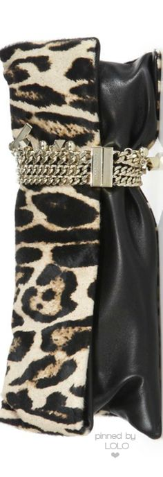 Jimmy Choo Chandra Leopard-Print Calf Hair & Leather Clutch | LOLO❤︎