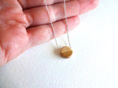 Gold Dipped Wood Charm and 925 Sterling Silver by KalosandCo, $24.00