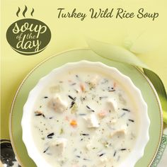 Two Minnesota delicacies, turkey and wild rice, are the stars of this sensational soup. Be prepared to serve seconds! —Terri Holmgren, Swanville, MinnesotaTurkey Wild Rice Soup Recipe photo by Taste … Turkey Wild Rice Soup, Chicken Wild Rice Soup, Turkey Broth, Turkey Soup From Carcass, Chicken Milk, Chicken Base, Wild Turkey, Smoked Turkey, Soup Recipes