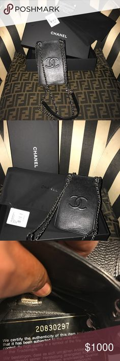 Authentic Chanel Phone holder This phone holder /mini cross-body or shoulder strap bag makes an awesome evening bag!!  w/an accordion style 3 section storage space, It can be worn across your body or on shoulder. It's made of Chanel lamb skin leather and the straps are the signature chain link w/silver hardware. It's in excellent condition and comes with the authenticity card, suede like dust bag and the original Chanel box!!! CHANEL Bags Crossbody Bags