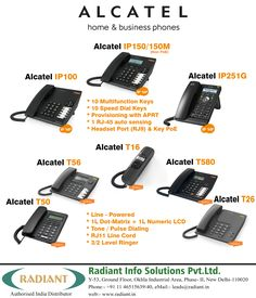 #ALCATEL Home and #Business VoIP/IP & Analog Phones- (IP100, IP251G, T16, T580, T56, T50 and T26) #IPphones #AnalogPhones #VoIP #RadiantInfoSolutions