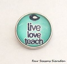 Snap Charm Live Love Teach Chunk Ginger Snap Charm Snap Button Popper Interchangeable Jewelry Gift