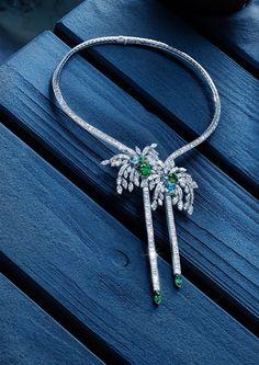 Piaget Mediterranean Garden Necklace - set with baguette-cut diamonds, marquise-cut diamonds, cushion-cut emeralds, cushion-cut green tourmalines and marquise-cut emeralds in 18k white gold.