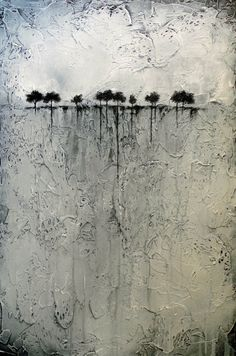Abstract Painting of Trees on the Horizon Heavily di BrittsFineArt
